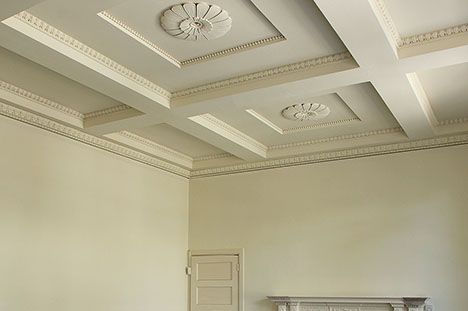 ornate ceiling sprayed in farrow and ball